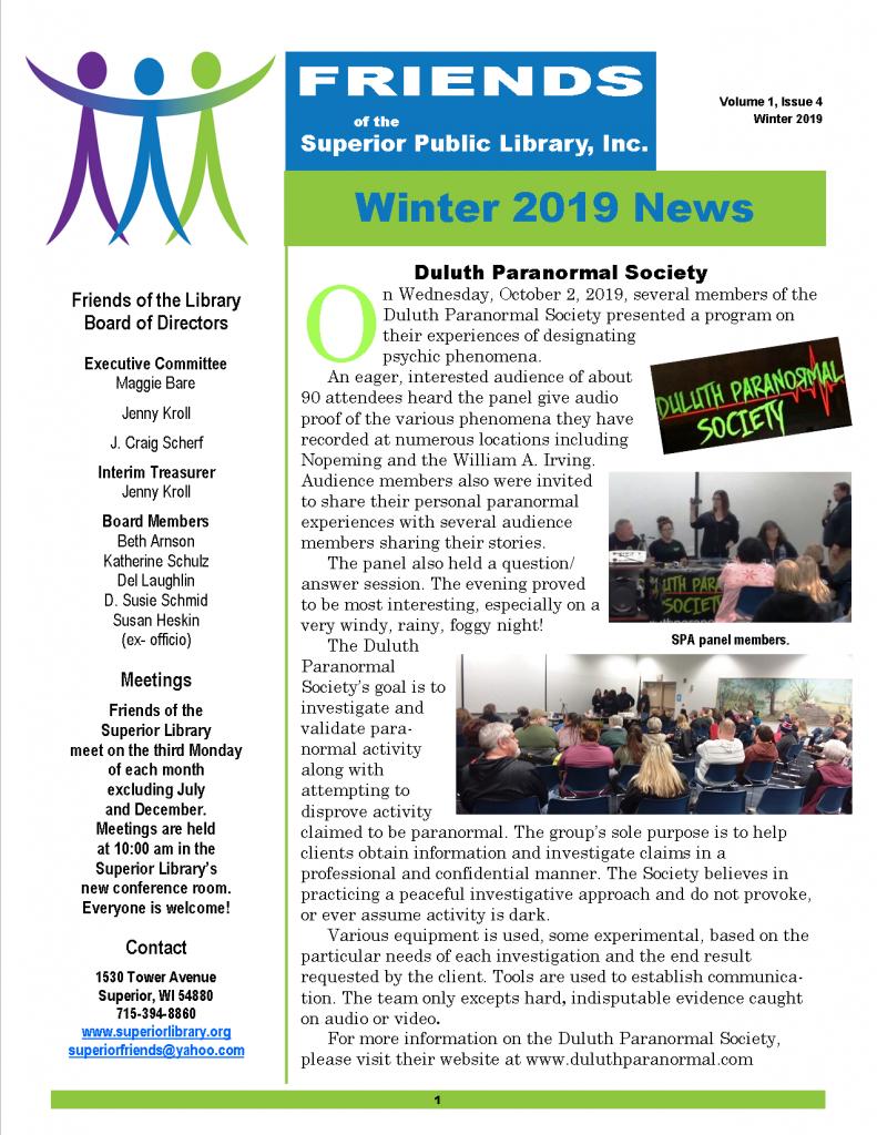 FOL Newsletter Winter 2019 pg 1